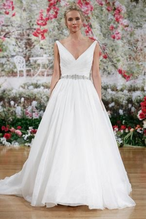 Beautiful A Line Wedding Dress with Bedazzled Belt, Spring