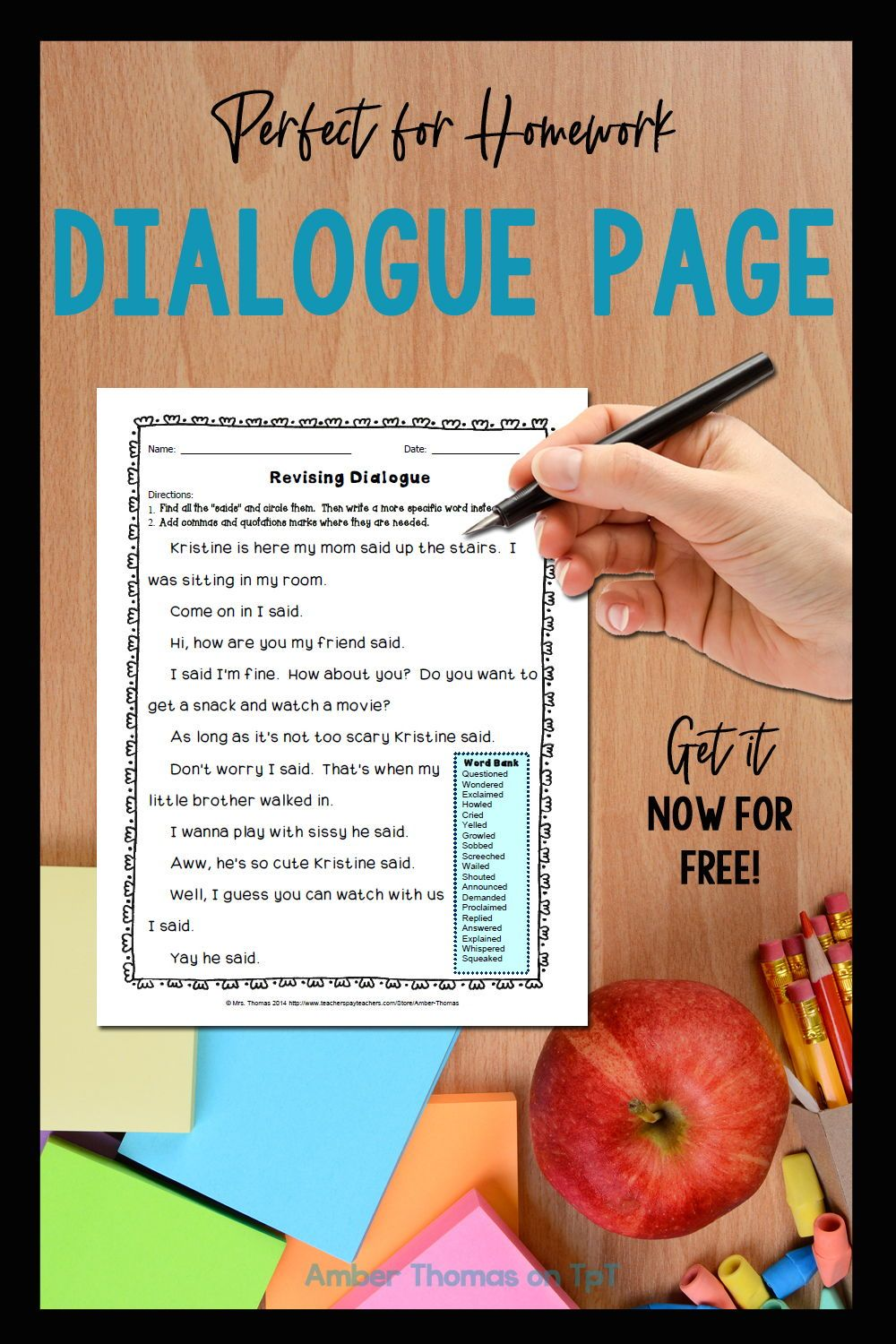 medium resolution of Revising Dialogue Homework or Printable Distance Learning Page   Elementary  writing lessons