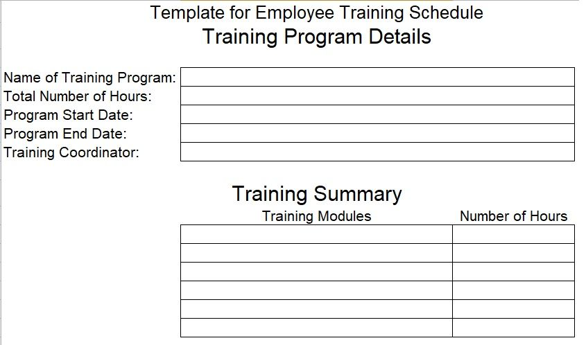 Employee Training Schedule Template | Company Templates | Pinterest ...