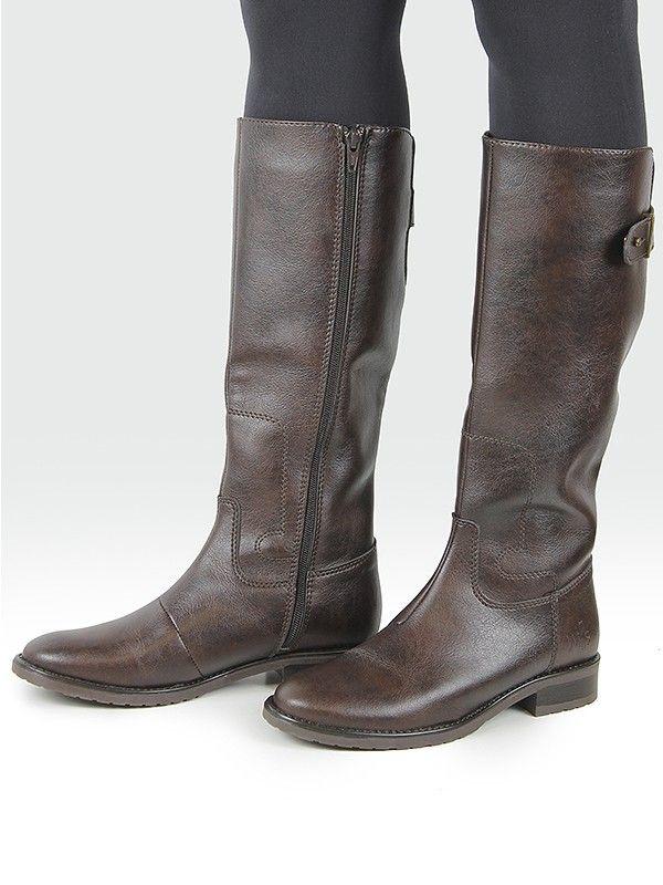 122f3365209 Vegan Vegetarian Non-Leather Womens Riding Boots Dark Brown ...