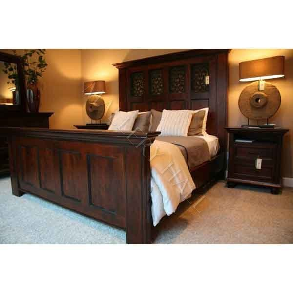 Spanish Rustic Acacia Wood King Panel Bed Iron Scrollwork Antique