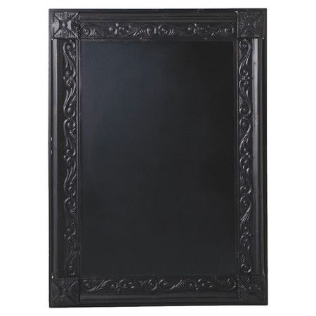 Distressed Metal Framed Chalkboard With Scrolling Detail