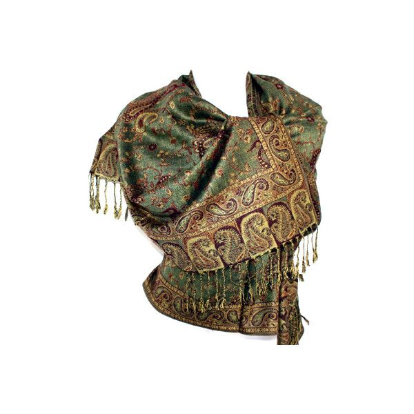 Traditional Jamavar Royal Indian Kashmir Pashmina Shawl Jacquard... ❤ liked on Polyvore featuring accessories, scarves, tops, shirts, indian scarves, indian shawl and shawl scarves