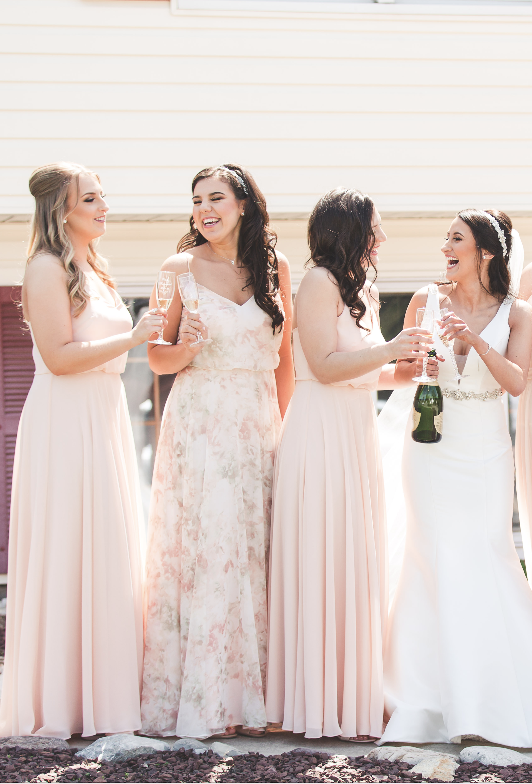 b0f4162dbb54 Jenny Yoo mismatched Bridesmaids, shown in our 'Inesse' Dress in Watercolor  Blush print. This long chiffon dress is the perfect bridal party dress for  a ...