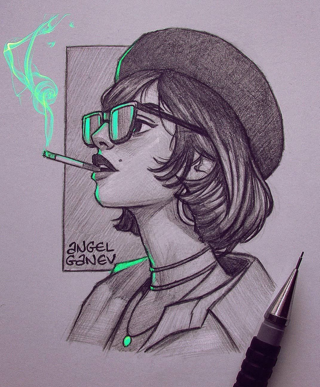 Angel Ganev On Instagram Sweet Poison Pencil Sketch With Some Green Lighting Reference In 2020 Girl Drawing Sketches Art Sketches Drawing Sketches