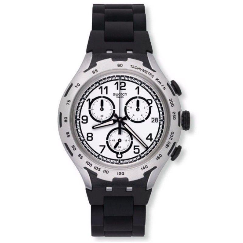 reloj swatch crongrafo hombre black attack yysag