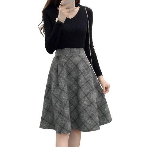 9d9e96b5371 2018 Autumn Winter A-Line Skirts Womens High Waist Plaid Midi Skirts  harajuku Vintage Plus Size Warm Woolen Skirt faldas jupe