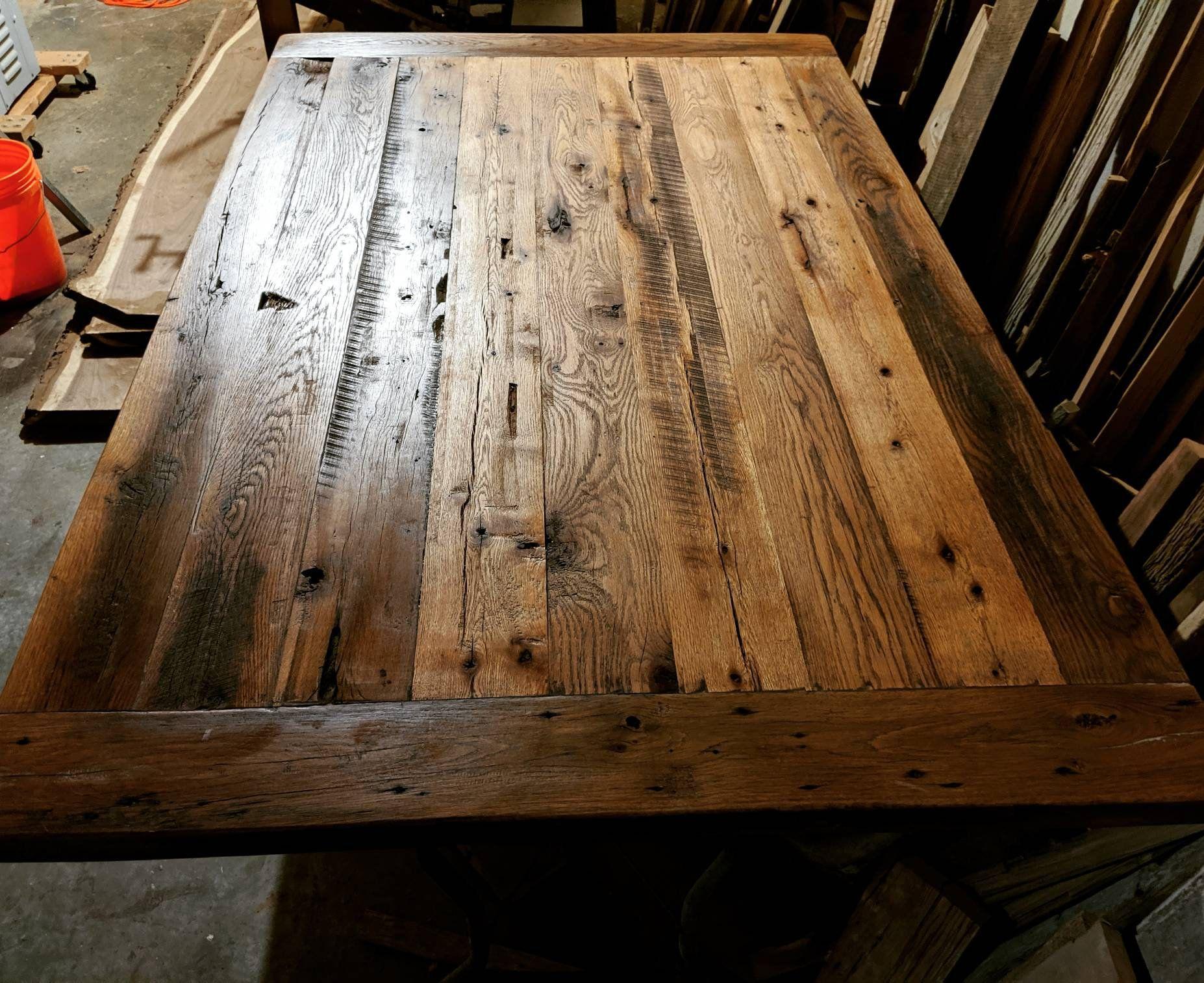 Custom Reclaimed Oak Wood Table Top Farmhouse Dining Table Etsy Farmhouse Dining Table Reclaimed Oak Oak Table Top