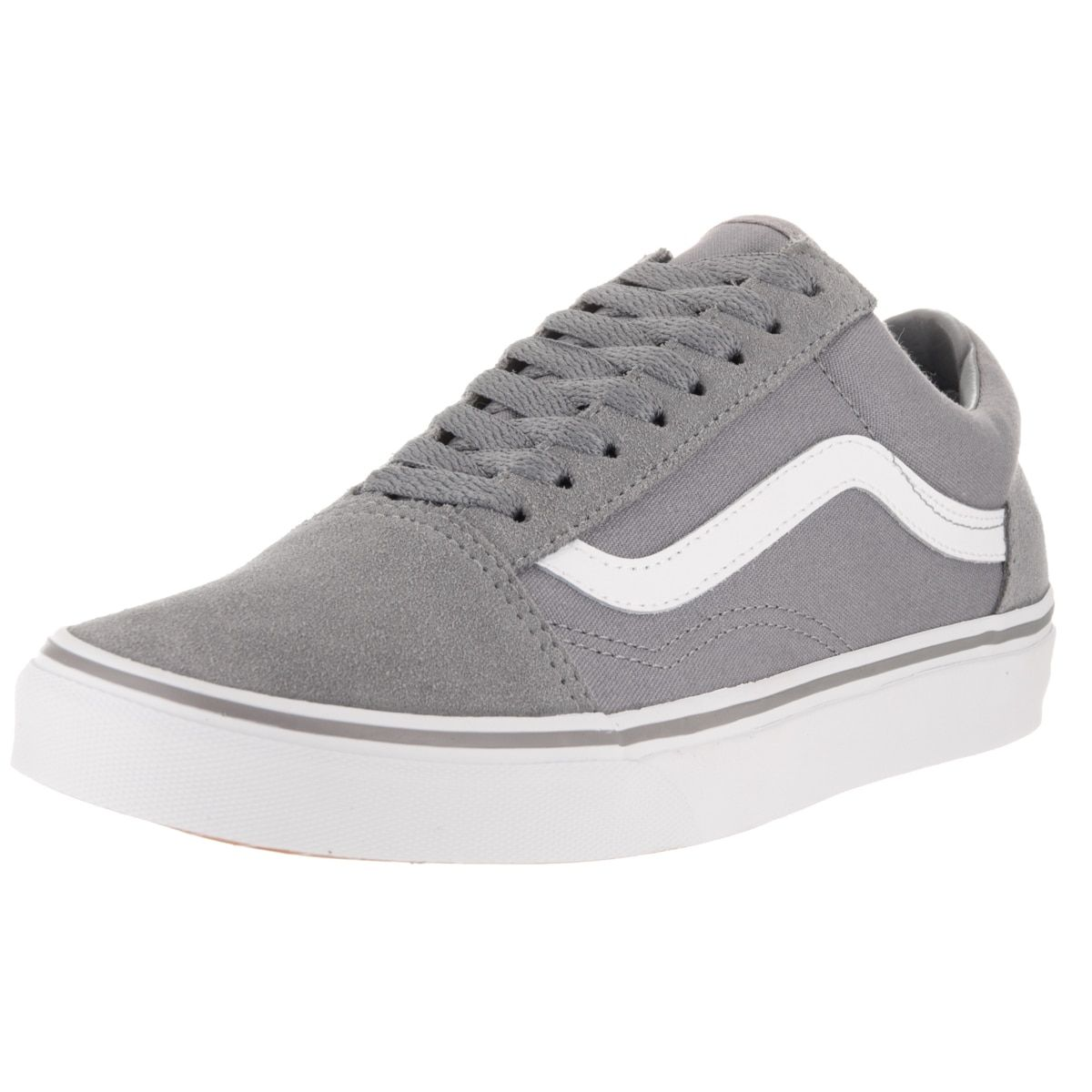 5107747e5d Vans Old Skool Grey and White Suede and Canvas Skate Shoe