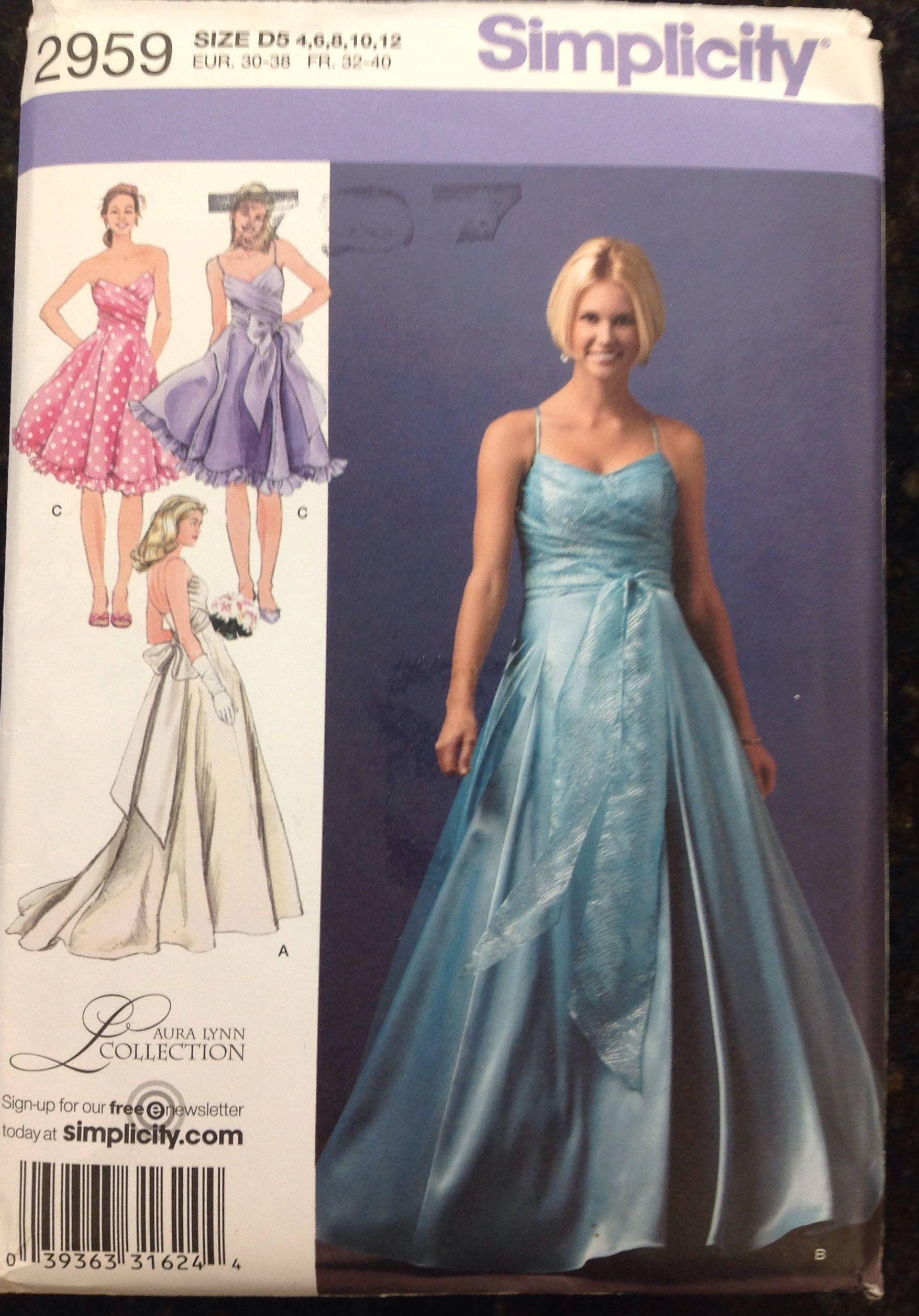 Strapless or spaghetti strap wedding bridesmaid or prom dress knee