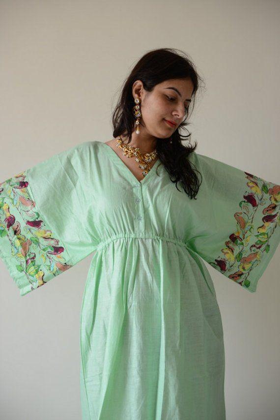 af217306fc1c7 Buttoned Butterfly Sleeves Empire Waist Birds Kaftan Dress Summer Dress  Long Maxi loungewear beachwe