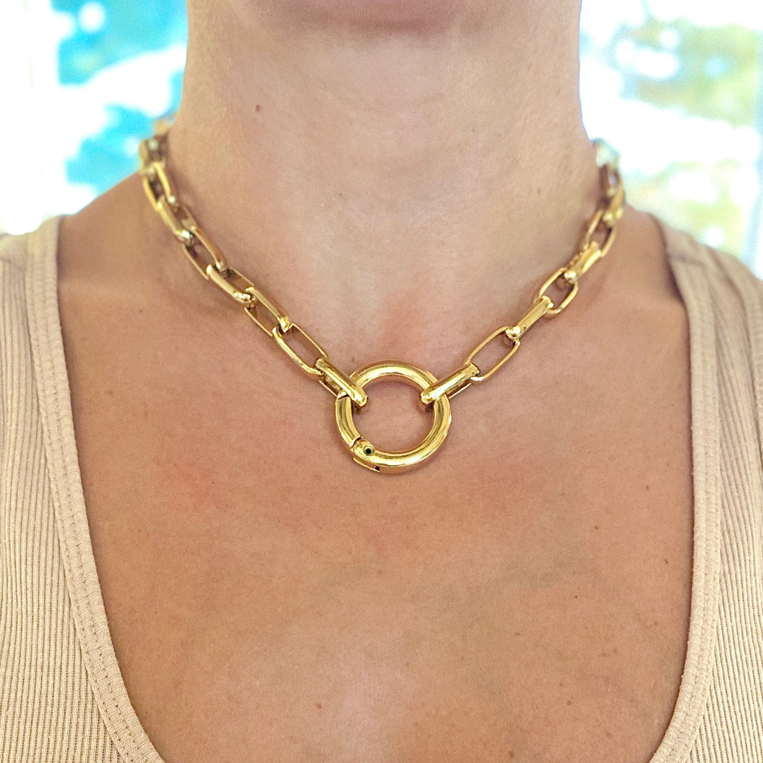 Gold Tone Large Link Choker Necklace Free Shipping