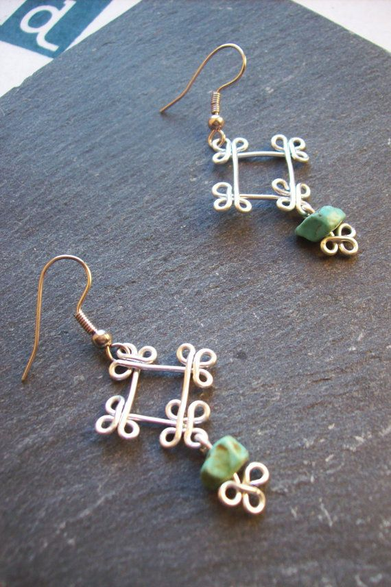 Drop earrings ethnic squares wire wrapped earrings by BOUCLELLA - sweet celtic knots