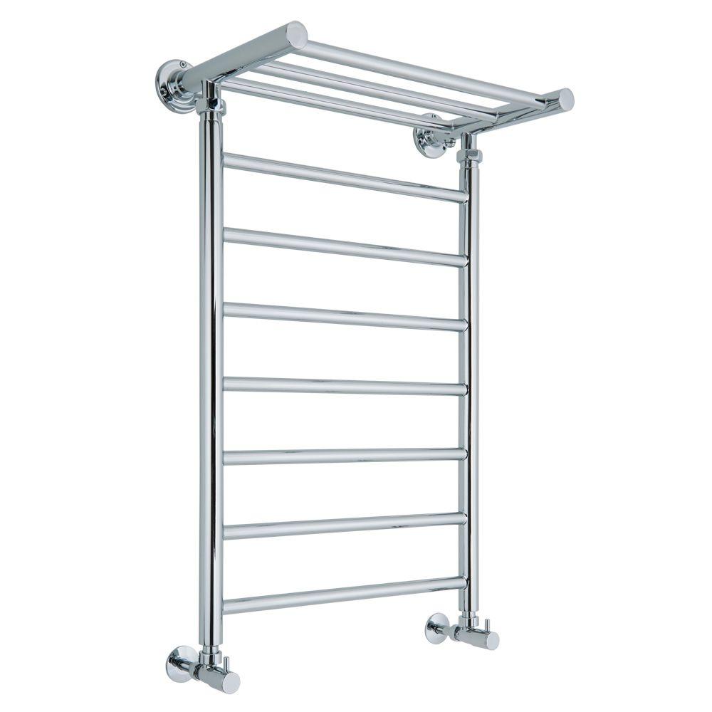 Small heated towel rails for bathrooms - X Chrome Designer Bathroom Heated Towel Radiator With Shelf Image 2