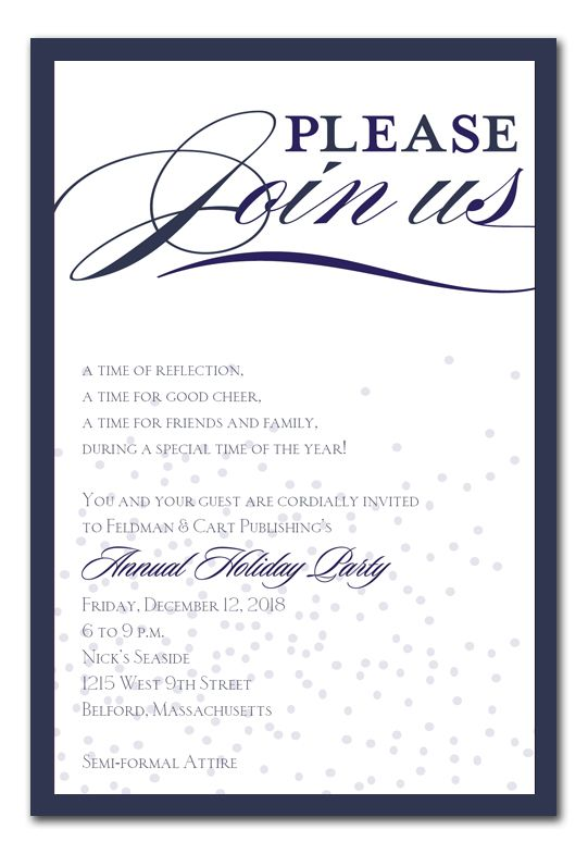 Classic Flurry - Holiday Invitations by Invitation Consultants - business dinner invitation sample