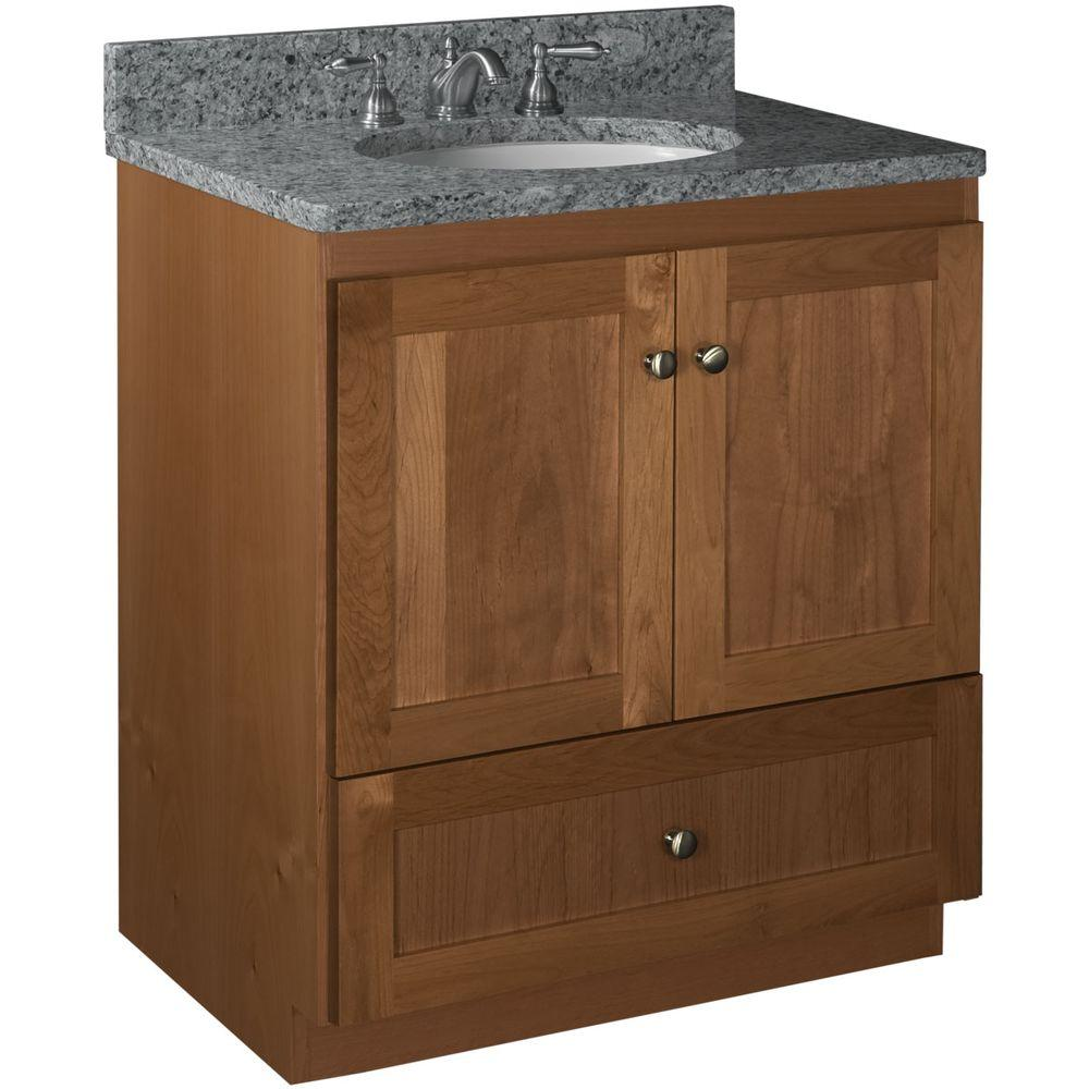 Simplicity By Strasser Shaker 30 In W X 21 In D X 34 5 In H Simplicity Vanity With No Side Drawers In Medium Alder 01 158 2 The Home Depot Vanity Bathroom Vanities Without Tops Vanity Cabinet 30 x 21 bathroom vanity