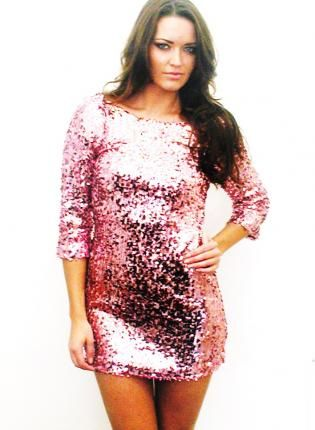 84f02038616 Plus Size - Perfectionist Pink Long Sleeve Sequin Dress