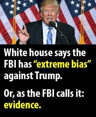 "Image result for Meme: White House says the FBI has ""extreme bias"" against Trump"""