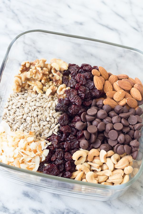 Energy Boosting Trail Mix with Toasted Coconut and Dark Chocolate is a yummy and healthy snack! Packed with nuts, seeds, dried cherries and chocolate chips for the perfect balance of salty and sweet!