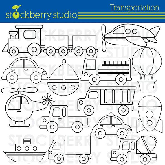 Transportation Clipart - Plane, Train and Automobiles - Instant ...