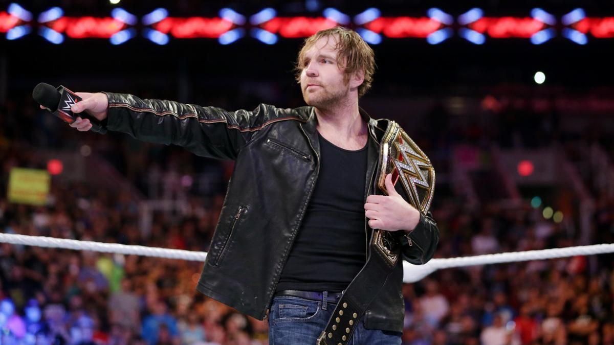 Dean Ambrose celebrates his WWE World Heavyweight Championship victory: photos