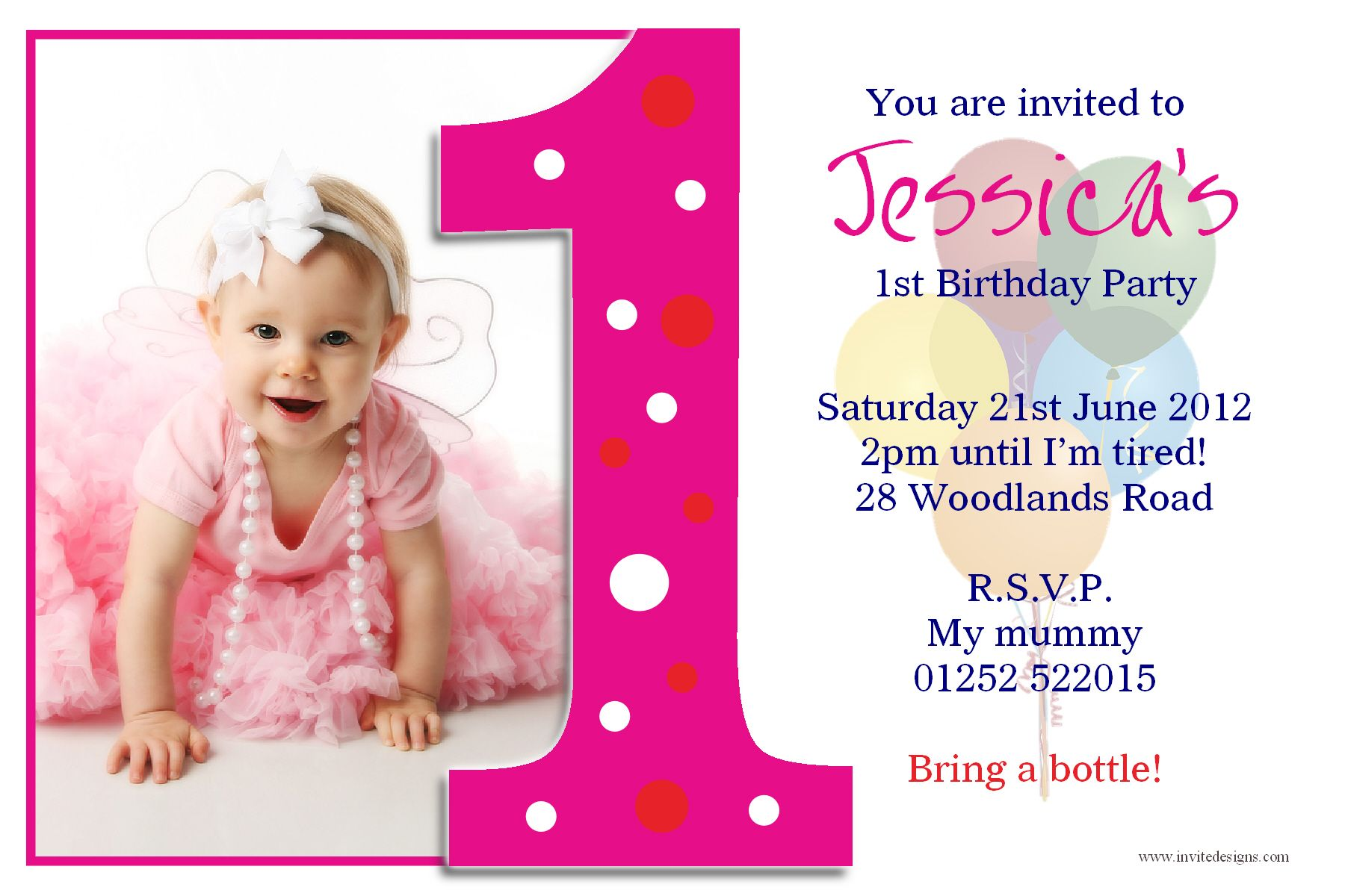 Details About Personalised Girls First 1st Birthday Party Photo