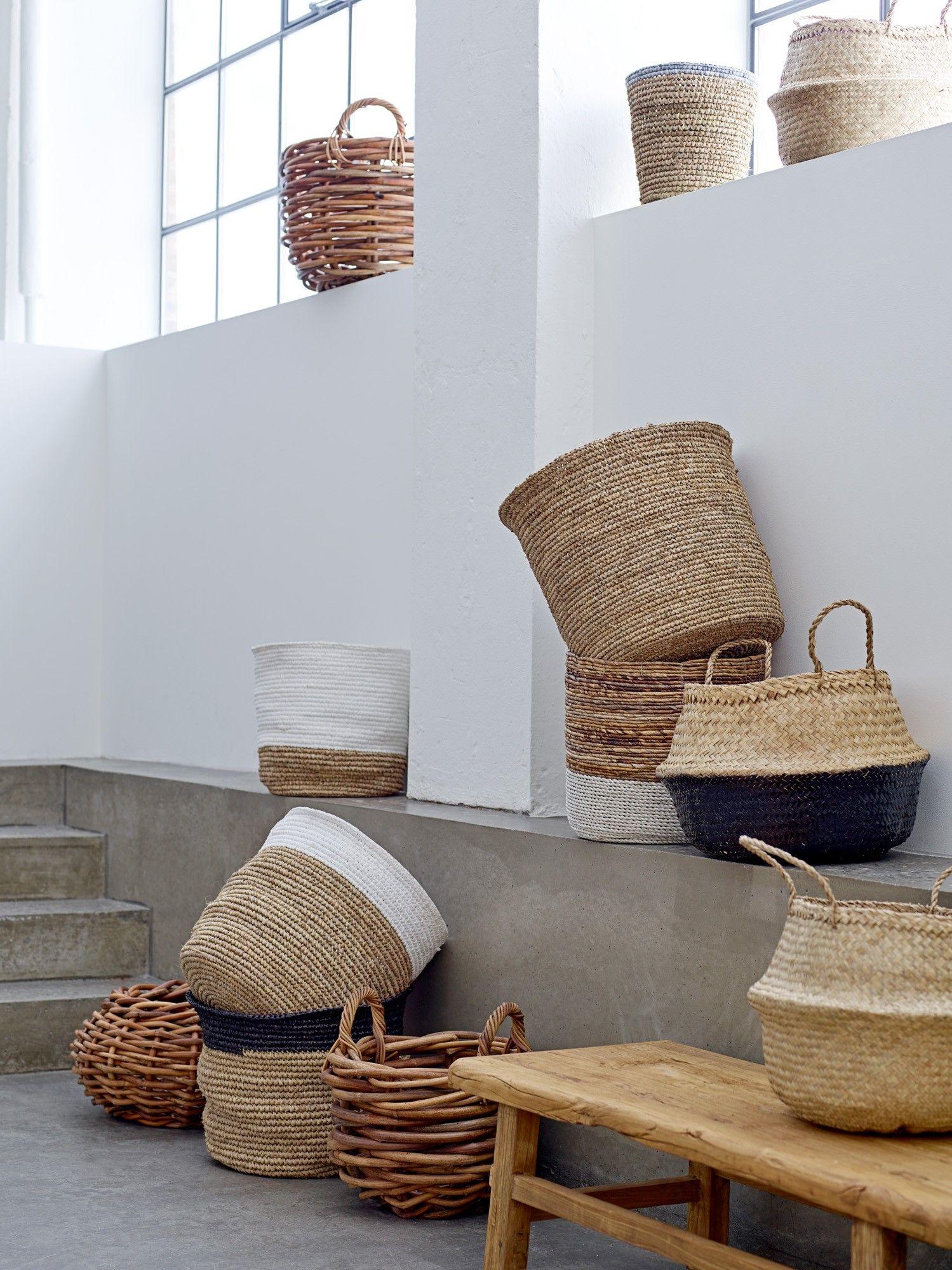 Design Vintage | White Raffia Baskets | Woven | Bloomingville & Design Vintage | White Raffia Baskets | Woven | Bloomingville ...