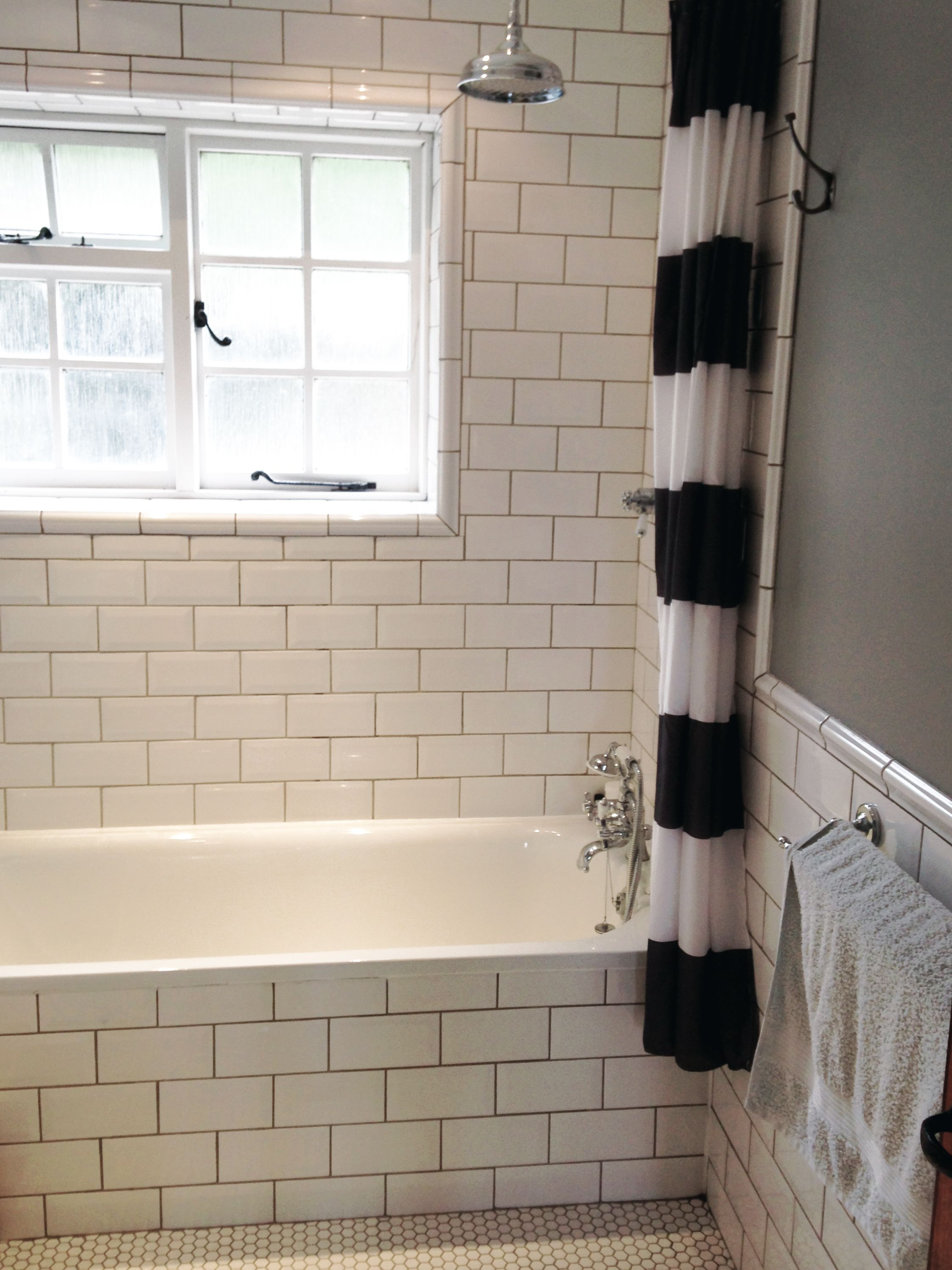 large subway tiles with dark grout | Bathroom | Pinterest | Grout ...