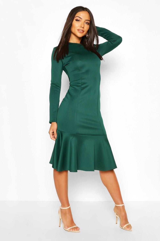 Long Sleeve Fish Tail Midi Dress Boohoo Long Sleeve Midi Dress Green Midi Dress Dresses [ 1500 x 1000 Pixel ]