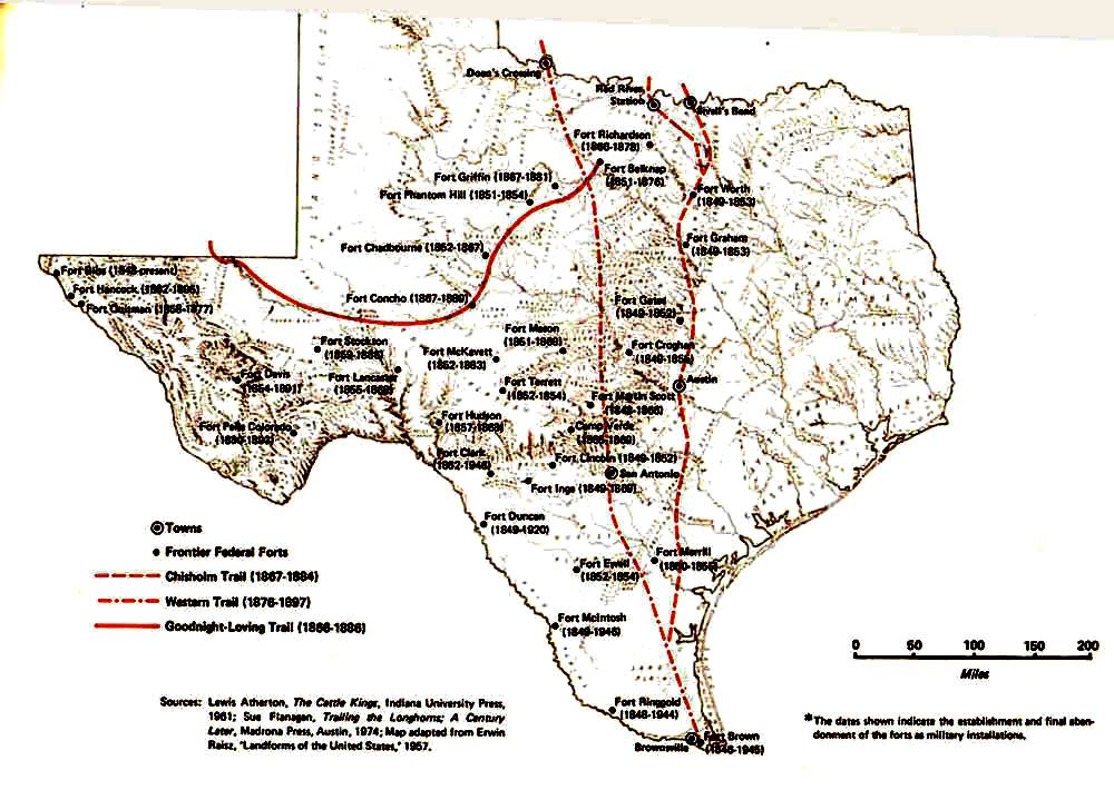 Texas Historic Maps 1850 1870 | Map taken from Cultural and