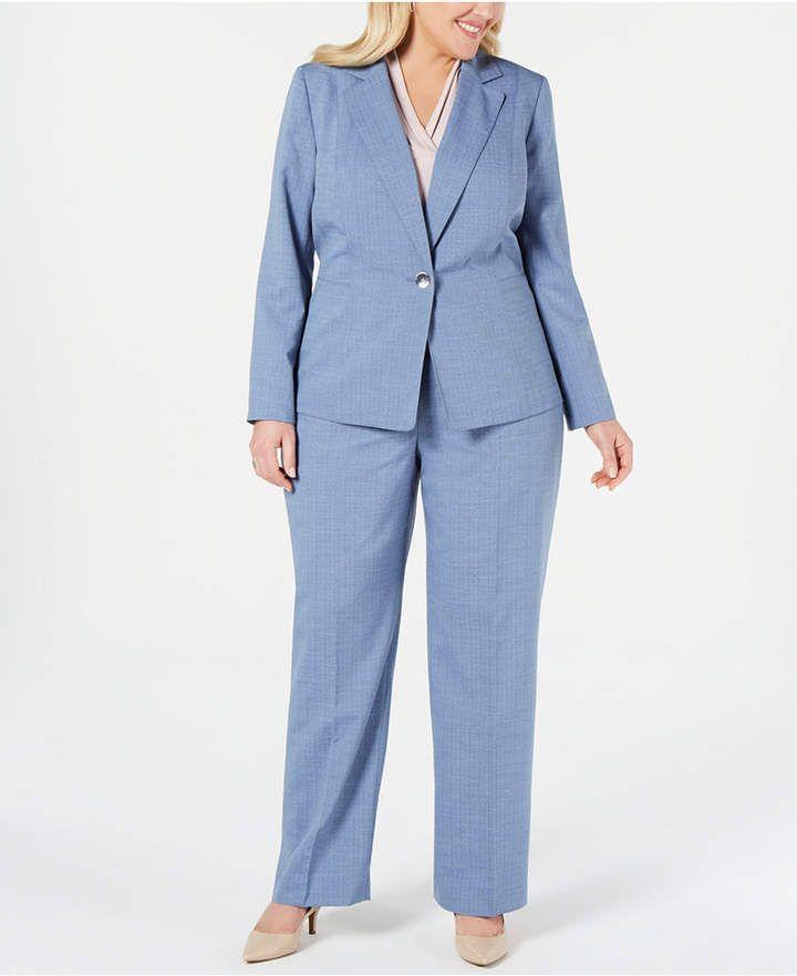 03047a803007d Le Suit Plus Size Textured One-Button Pantsuit - Blue 14W