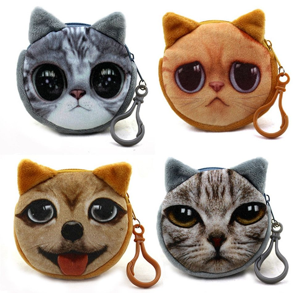 Women Lovely Cute Print Cat Face Girl Plush Coin Purse Change Purse Bag Wallet