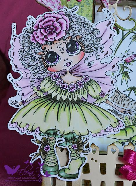 Bestie close-up by Elena F.... see the entire framed card in her blog post