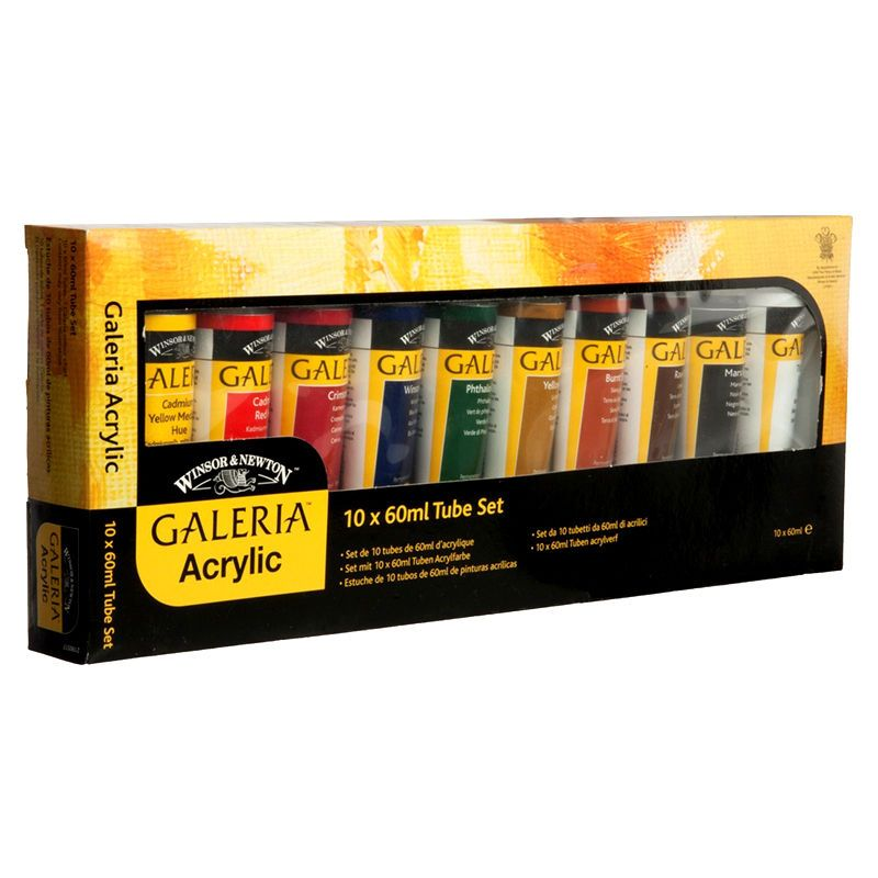 Winsor & Newton Galeria Acrylic Paint Set Assorted Colours 60ml Pack Of 10 Tubes