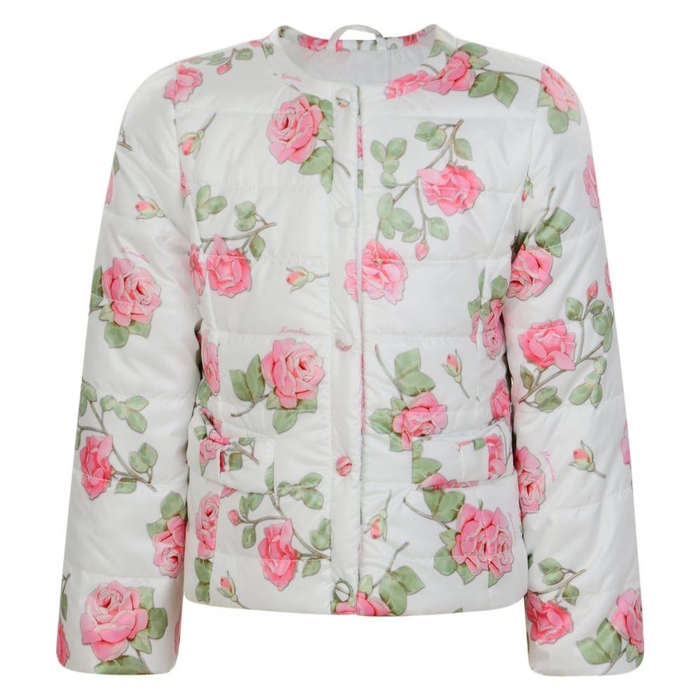 38803fca7784 Monnalisa Baby Girls White Extra Light Rose Print Jacket