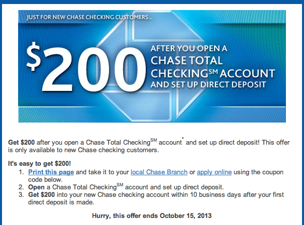 chase bank account deals