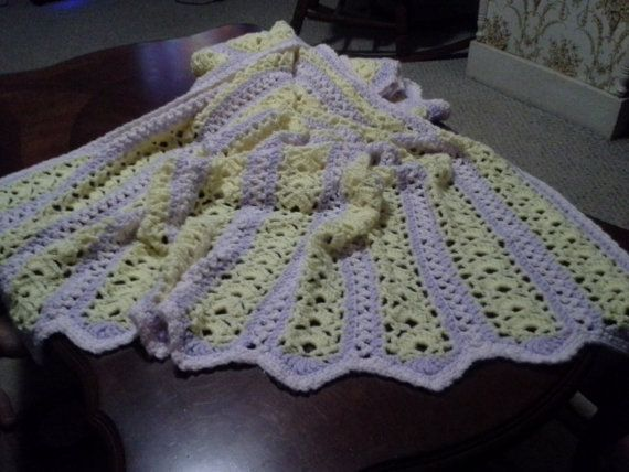 Yellow Purple and Pink Striped Baby Blanket/Afghan by Csquareds, $50.00