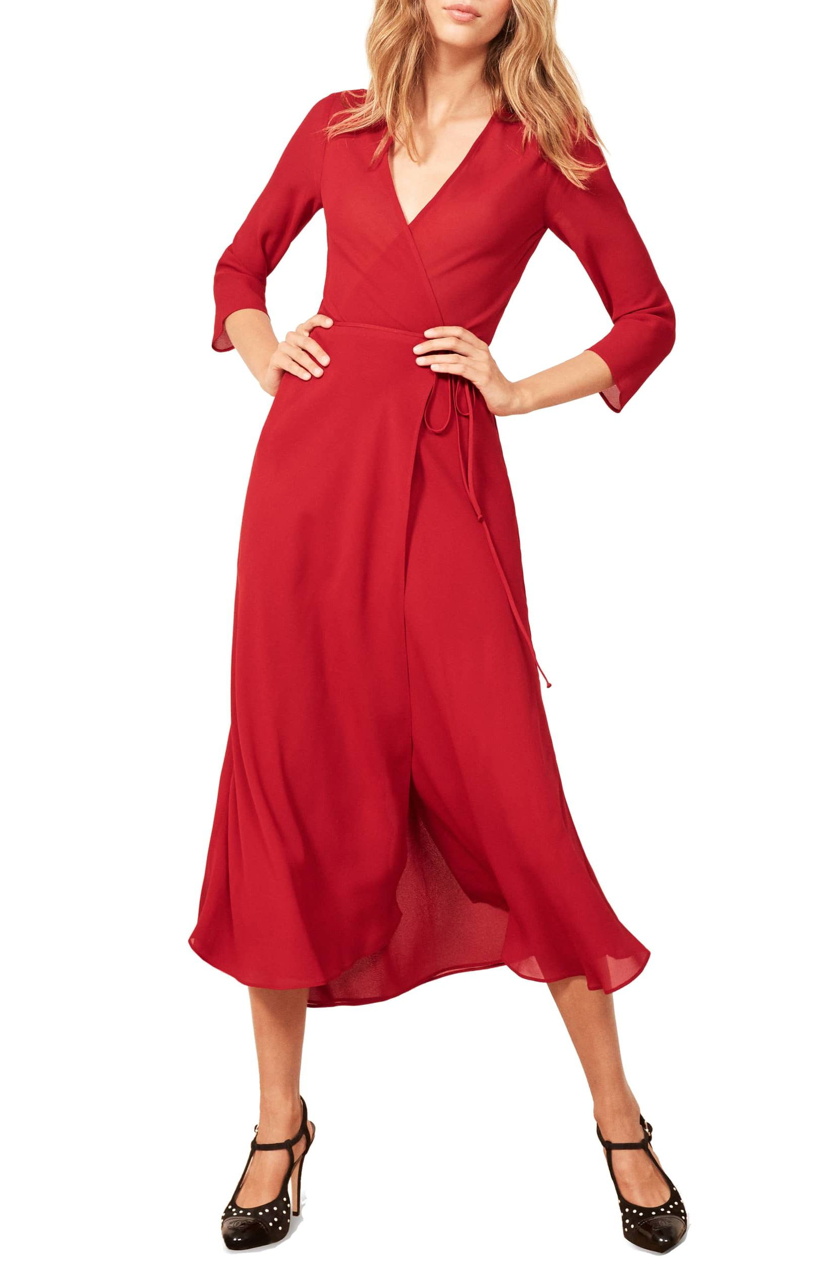 How To Copy Meghan Markle S Stunning Red Dress For Less Dresses Red Outfits For Women Midi Dress [ 2546 x 1660 Pixel ]