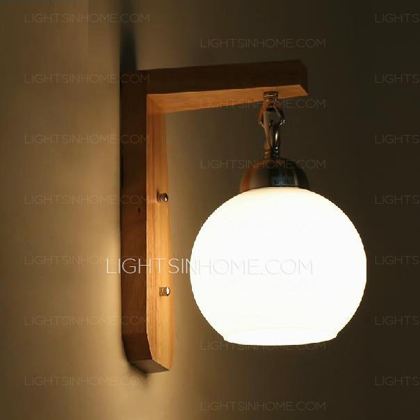 Simple Natural Wood Wall Sconce With Globe Glass Shade  Art Deco Fair Small Wall Sconces For Bathroom Review