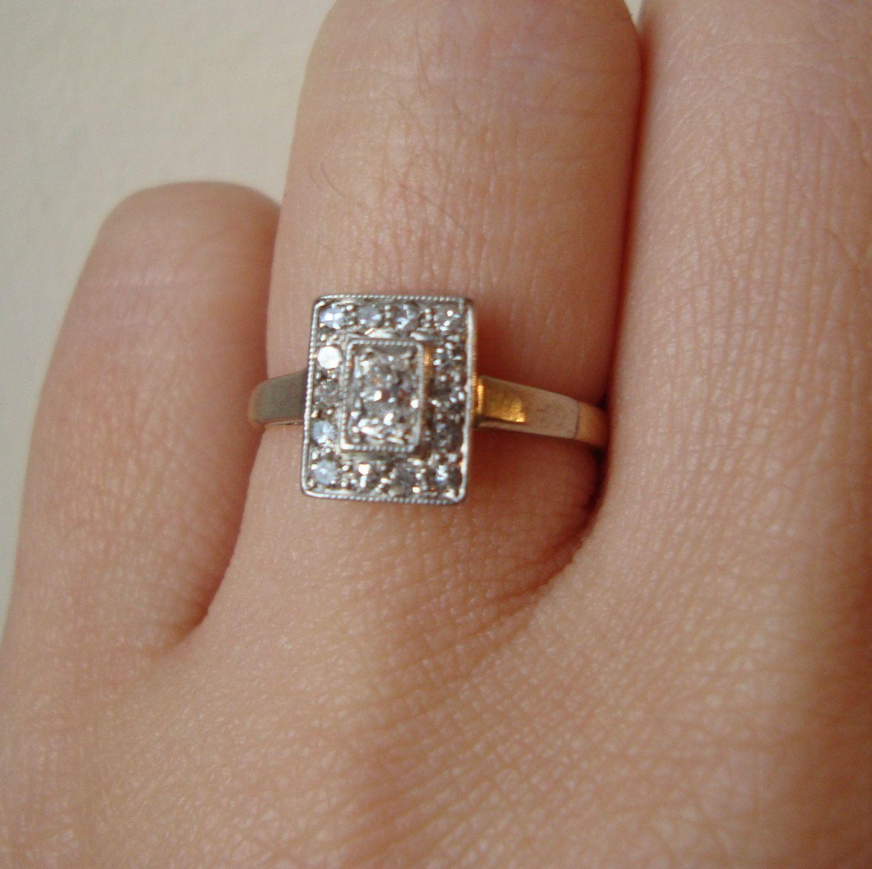 Art Deco Oval Diamond Rectangular Ring, Antique Diamond