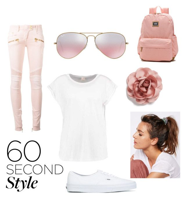 """Contest: 60 second style"" by dtlpinn on Polyvore featuring Balmain, Vans, Cara, Ray-Ban, Free People, amusementpark and 60secondstyle"