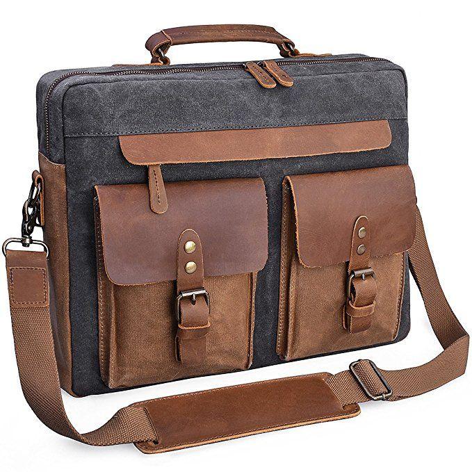 a866edccf2 Mens Messenger Bag 15.6 Inch Vintage Genuine Leather Briefcase Waterproof  Waxed Canvas Laptop Computer Bag Large Leather Satchel Shoulder Bag Grey