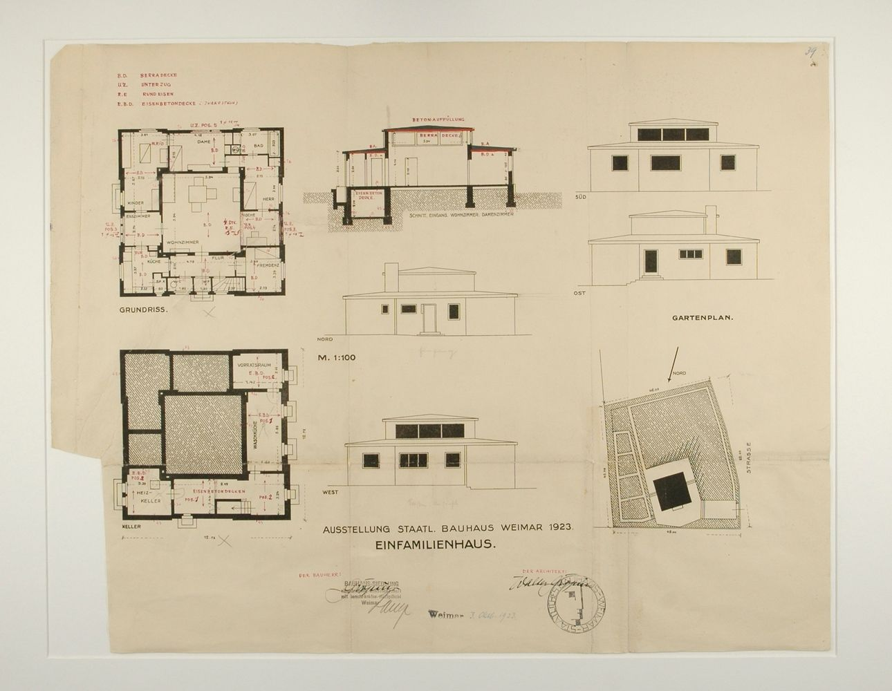 AD Classics: Haus Am Horn,A Copy Of Georg Mucheu0027s Original Permit Drawings  For