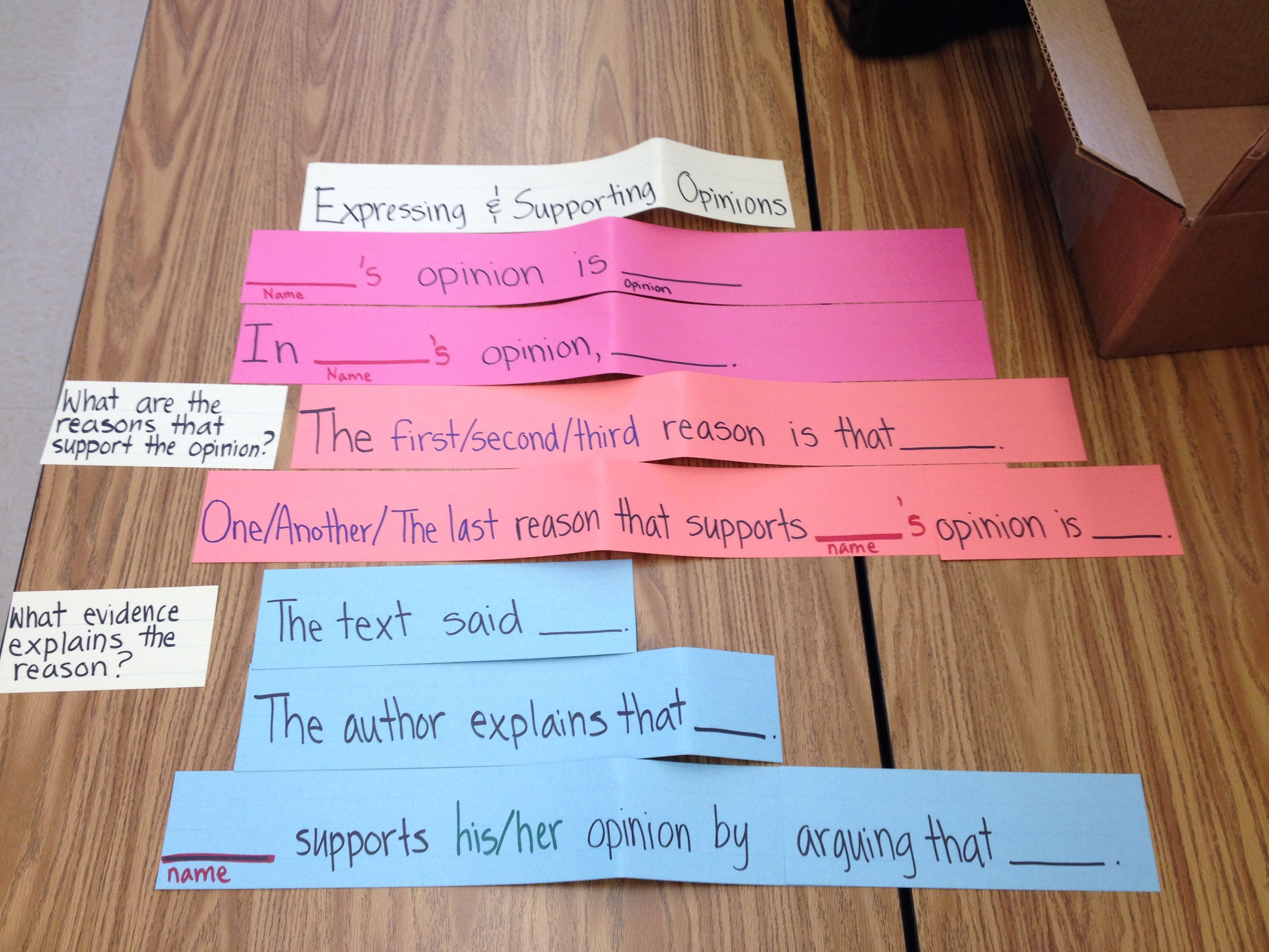 Expressing Someone S Opinion Sentence Frames Supporting With Evidence Reading Ideas Sentence Frames Supportive