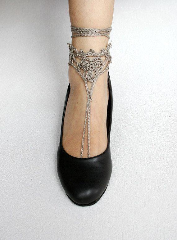 Crochet Barefoot Sandals in tan  Wedding Beach sandals by MarryG, $15.00