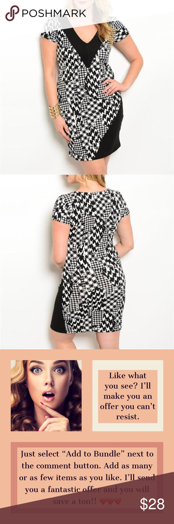 Houndstooth Bodycon Dress Plus Size Houndstooth Dress