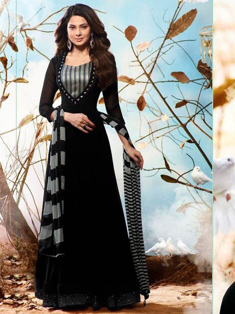 739758abe8 Black+Color+Designer+Party+wear+Casual+Indian+Pakistani+Anarkali+Gown