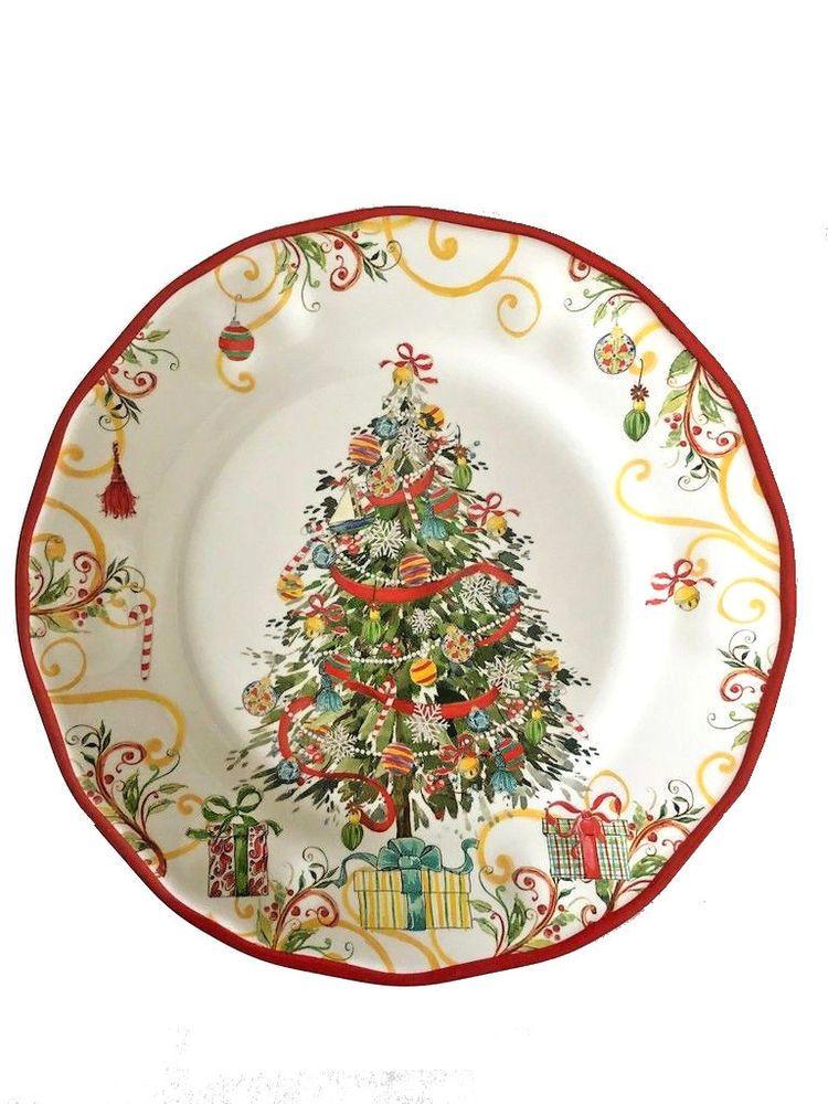 Melamine Christmas Platters.Christmas Tree Melamine Dessert Salad Plates 9 Set Of 4