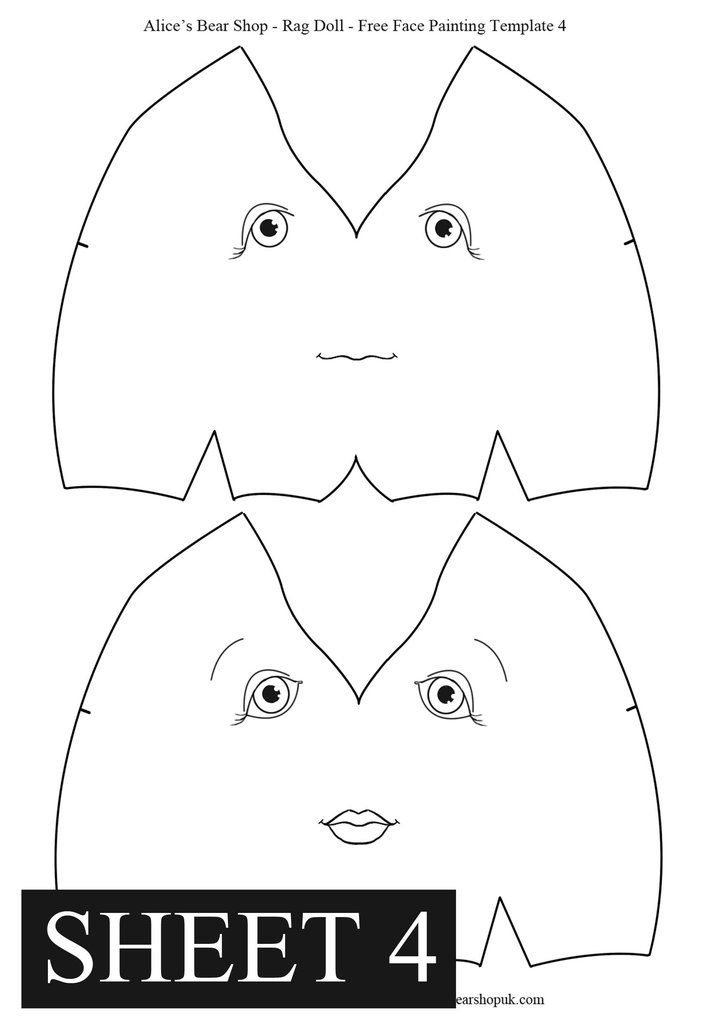Free Rag Doll Face Painting Templates #dollfacepainting