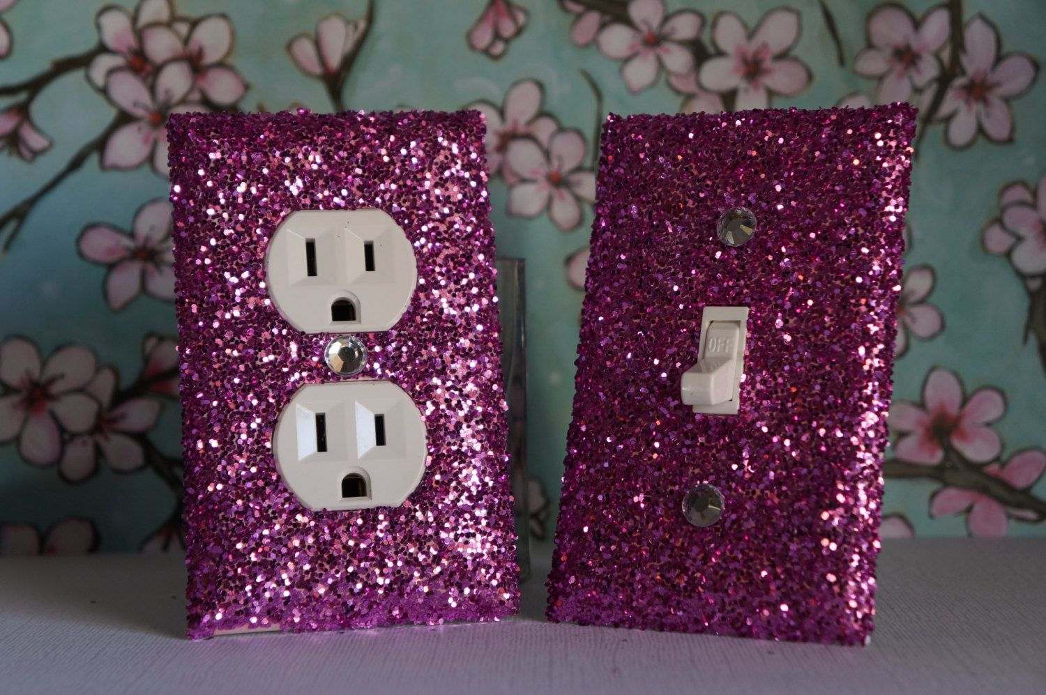 SET of Chunky Pink  Glitter Swichplate Outlet by GlitterItMine, $12.50
